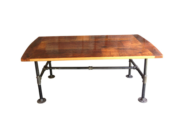 Reclaimed Flooring Coffee Table with Metal Legs