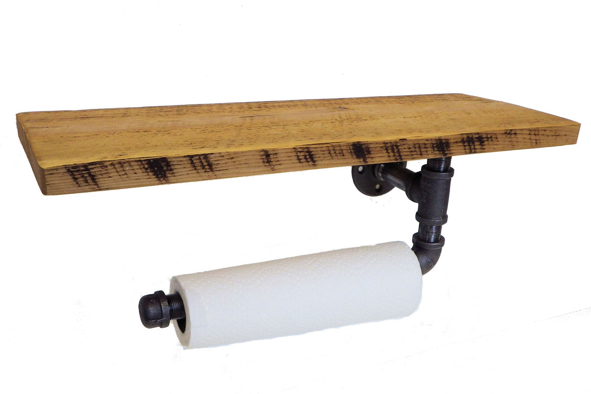 Industrial Paper Towel Holder With Shelf Reclaimed Art