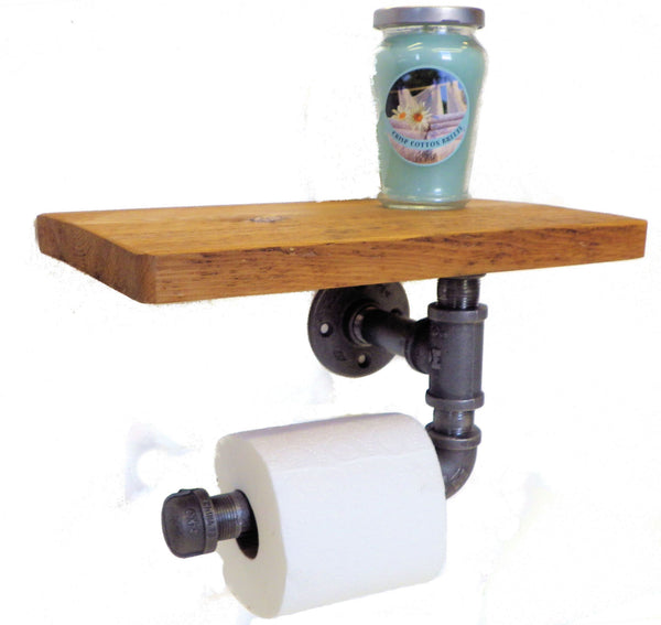 Reclaimed toilet paper holder with shelf