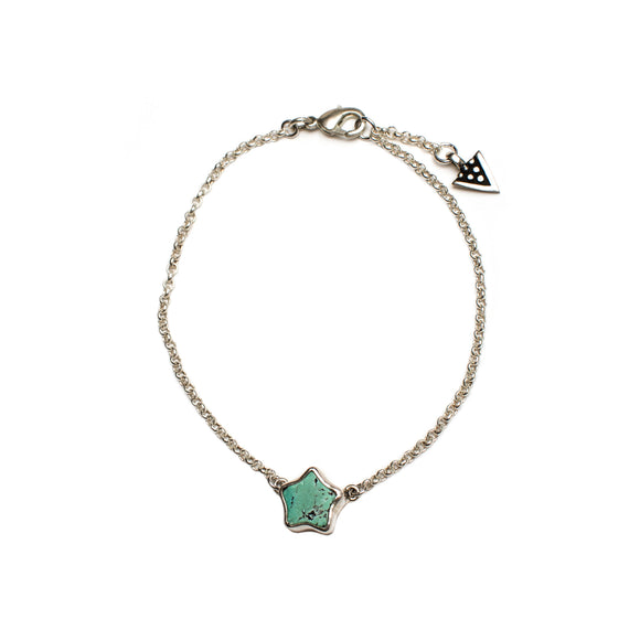 Sterling silver bracelet with Arizonian turquoise by wild heart jewellery