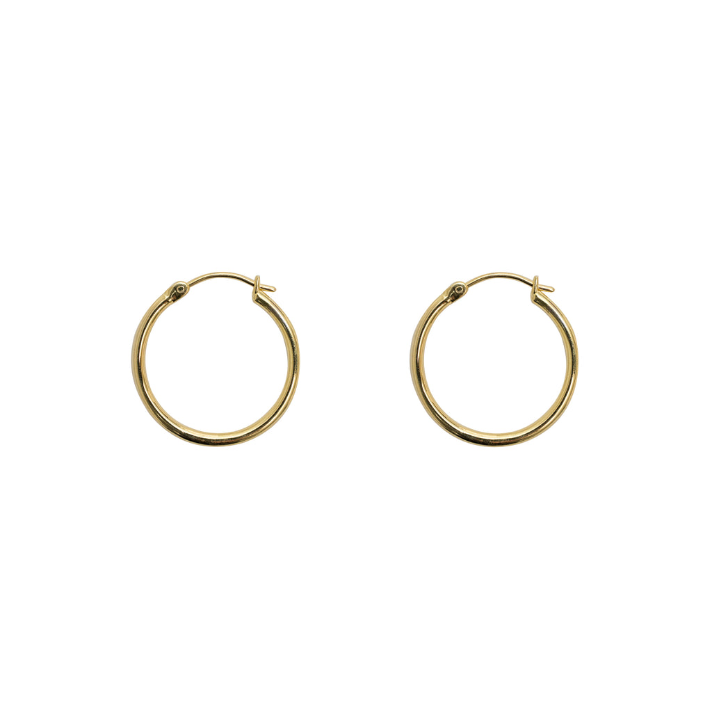 Large gold hoop by wild heart jewellery