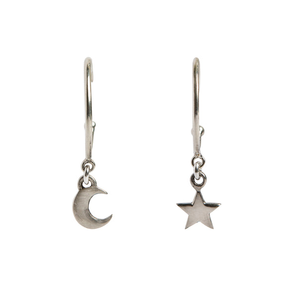 Cosmic sterling silver hoops featuring a moon and star by wild heart jewellery