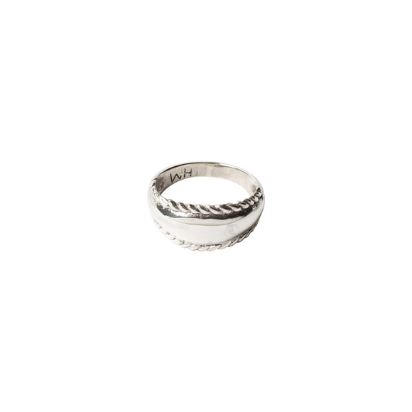 sterling silver wide band ring with rope detailing by wild heart jewellery