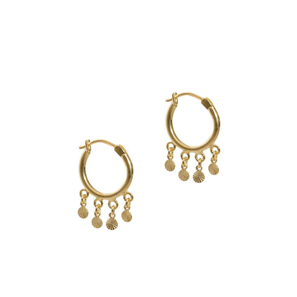 gold statement hoops with details by wild heart jewellery