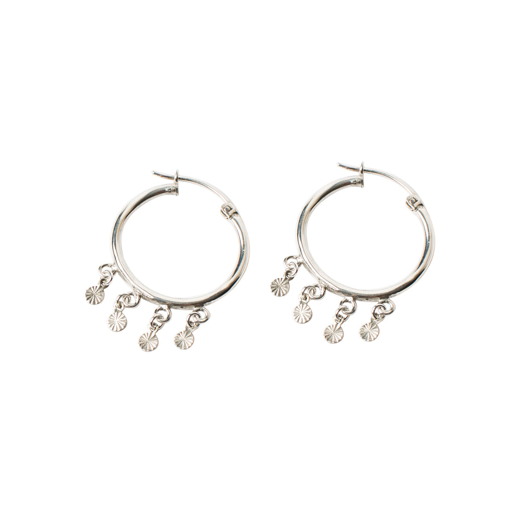 sterling silver statement hoops with mini disc charms