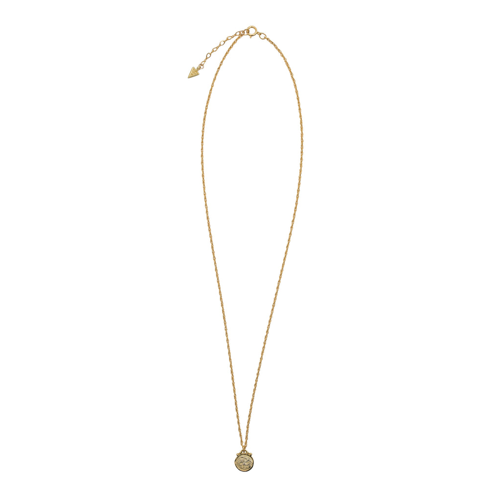 Fine gold disc pendant on gold filled Rope Chain by Wild Heart Jewellery
