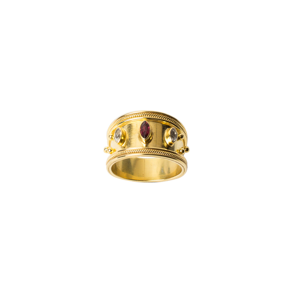 14crt gold vermeil ring with white topaz and rhodolite stones