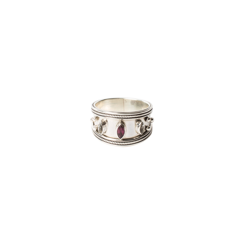 sterling silver wide band ring with rhodolite and white topaz
