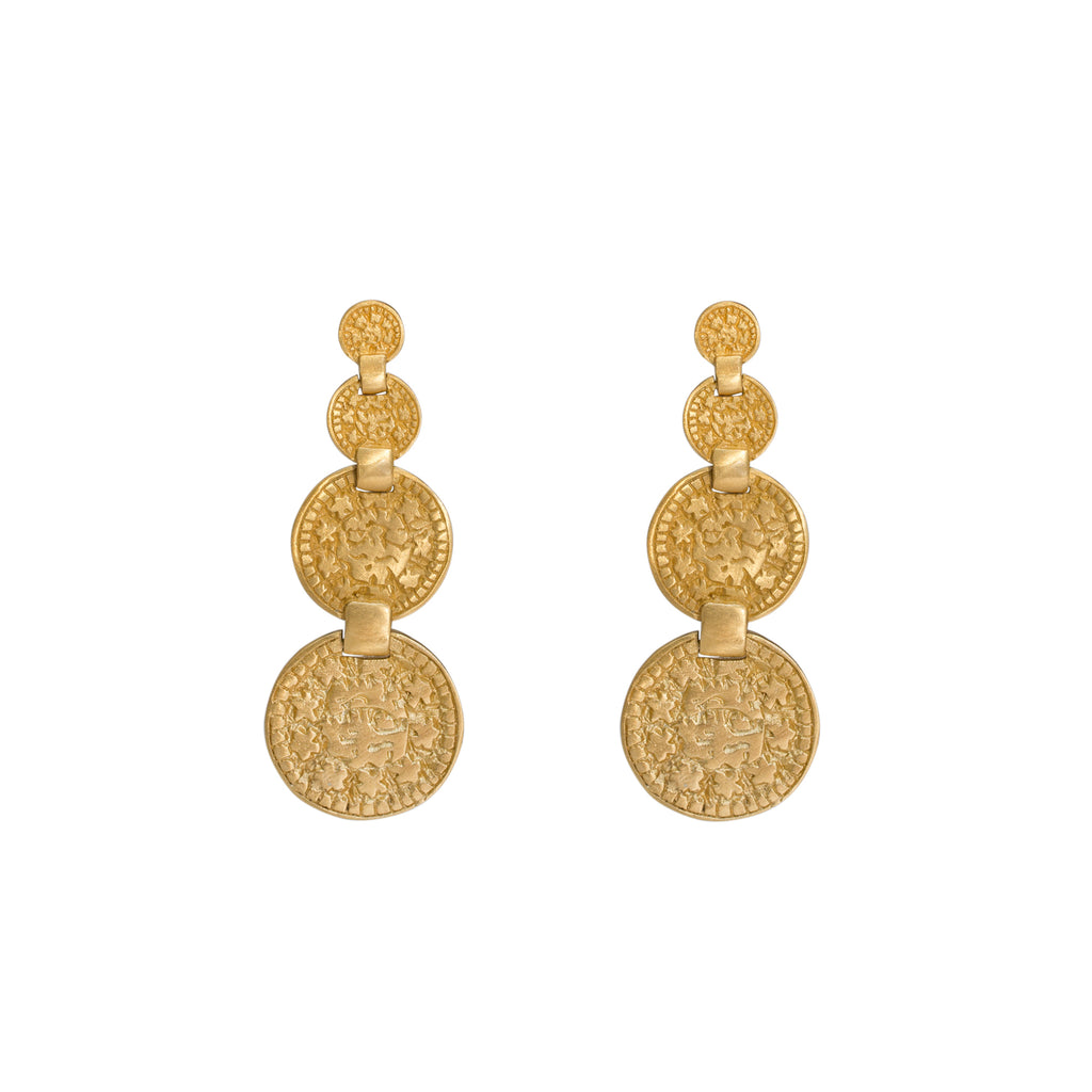 Gold Coin Earrings - four coin drop earrings - Stevie Jean Dune Collection