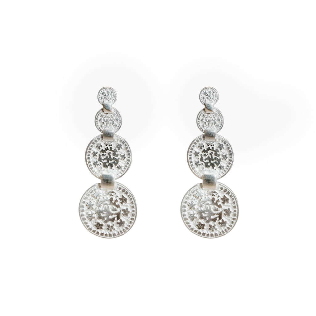 silver coin earrings - Statement femme earrings - Stevie Jean Jewellery