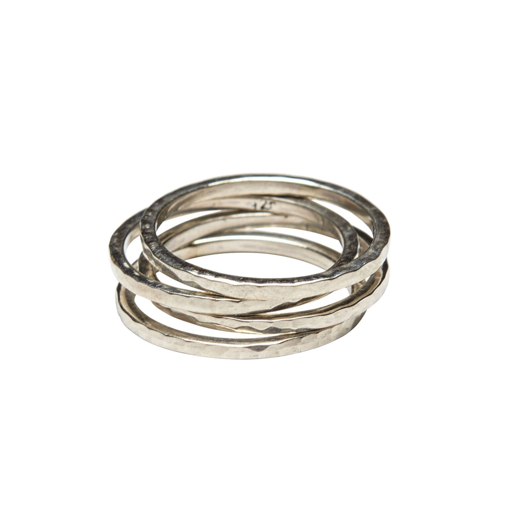 sterling silver set of 4 stack rings by wild heart jewellery