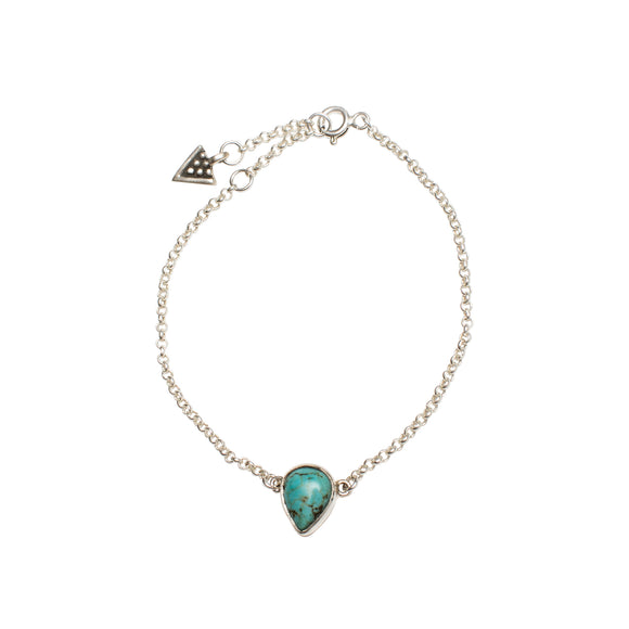 sterling silver chain bracelet with turquoise tear drop