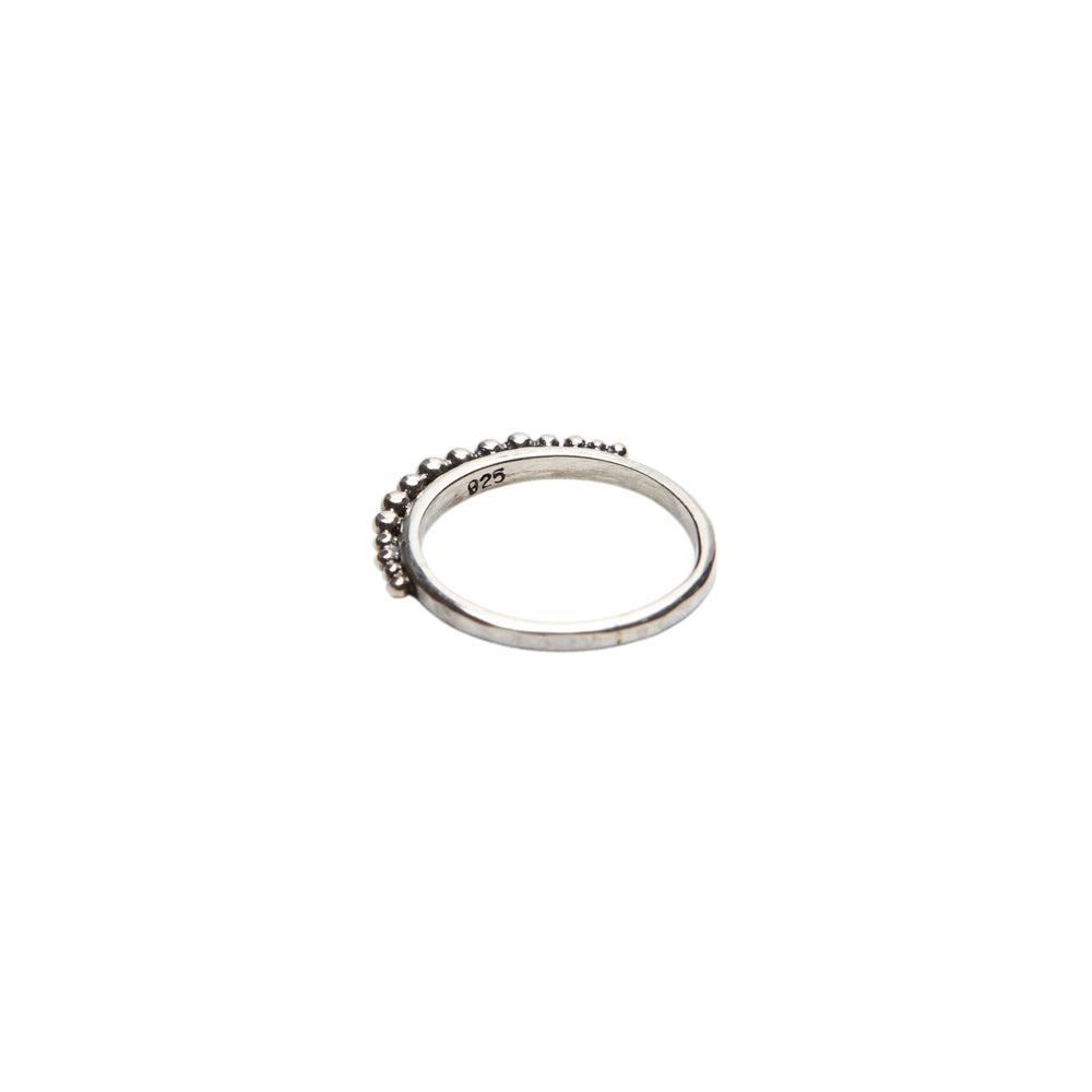 sterling silver fine band ring with ball detailing