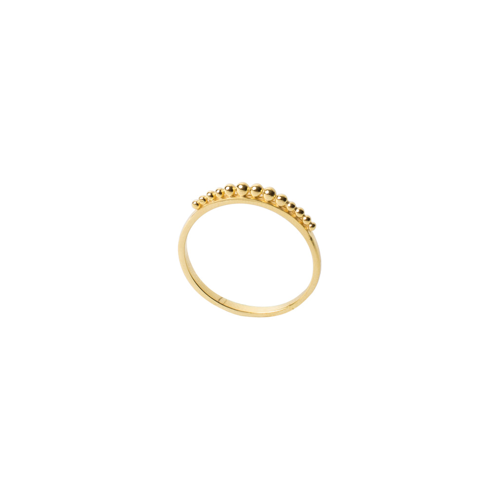 gold slim band stack ring with ball detailing