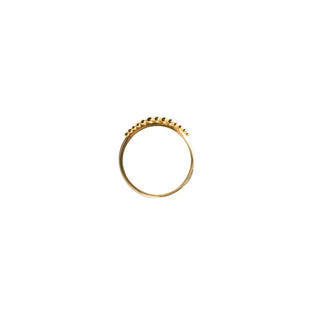 gold slim band ring with ball detailing by wild heart jewellery