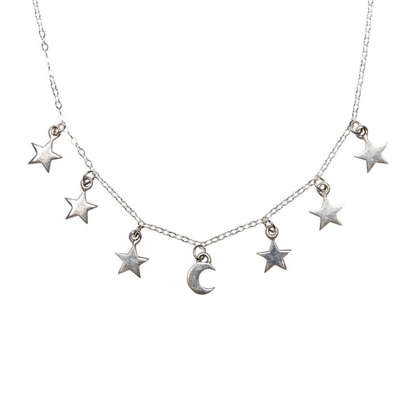 sterling silver star and moon necklace by wild heart jewellery