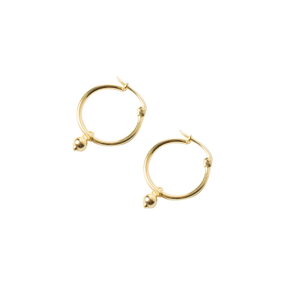gold hoops with charm detail by wild heart jewellery