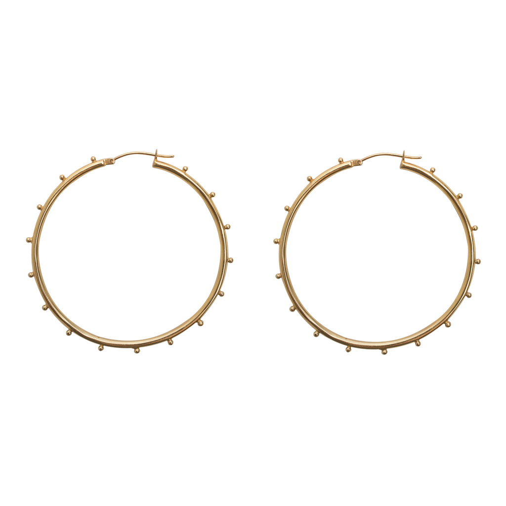 Studded Gold Hoop Earrings - Gold Vermeil 14k hoops - Stevie Jean