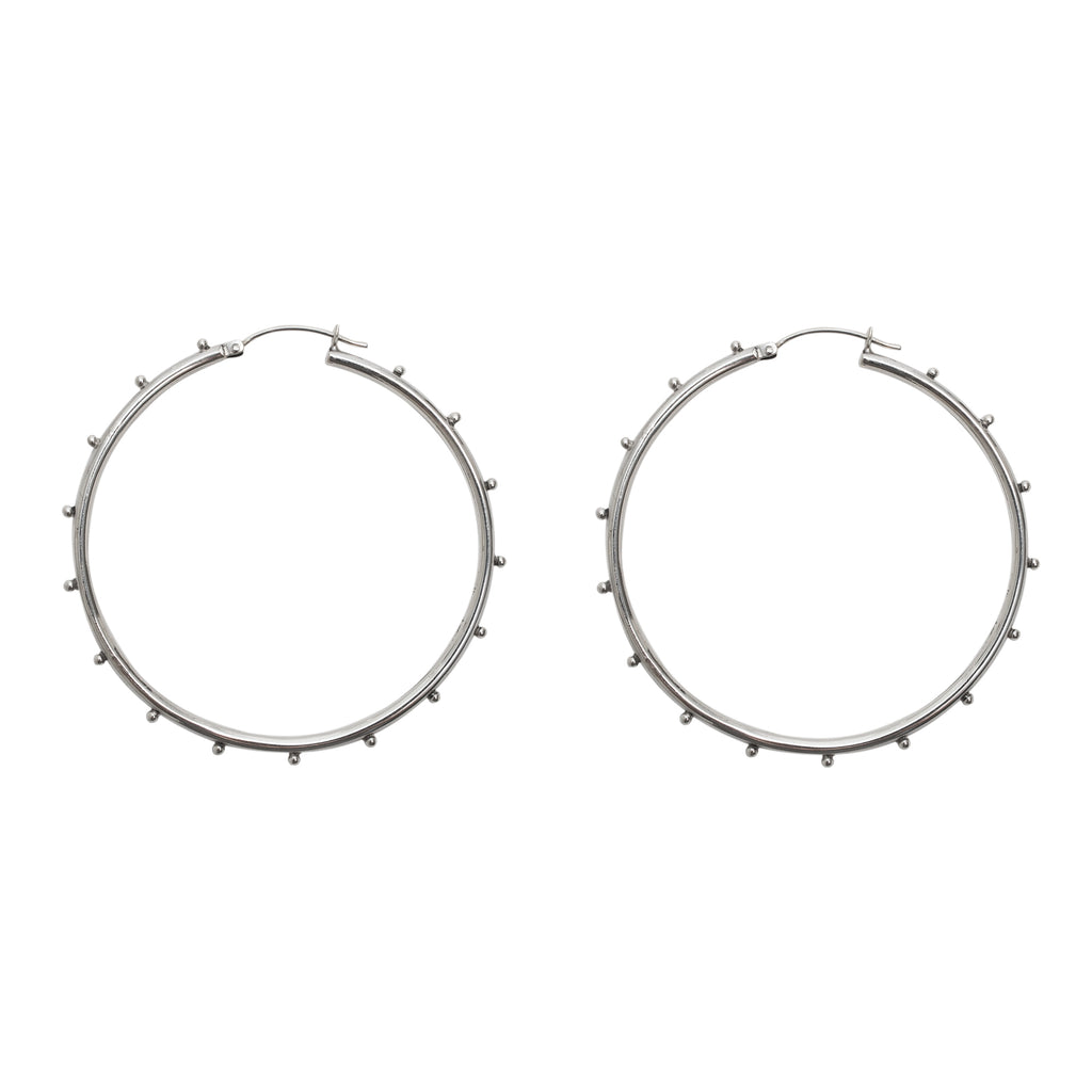 Silver studded hoop earrings - Sterling silver hoop earrings - Stevie Jean jewellery