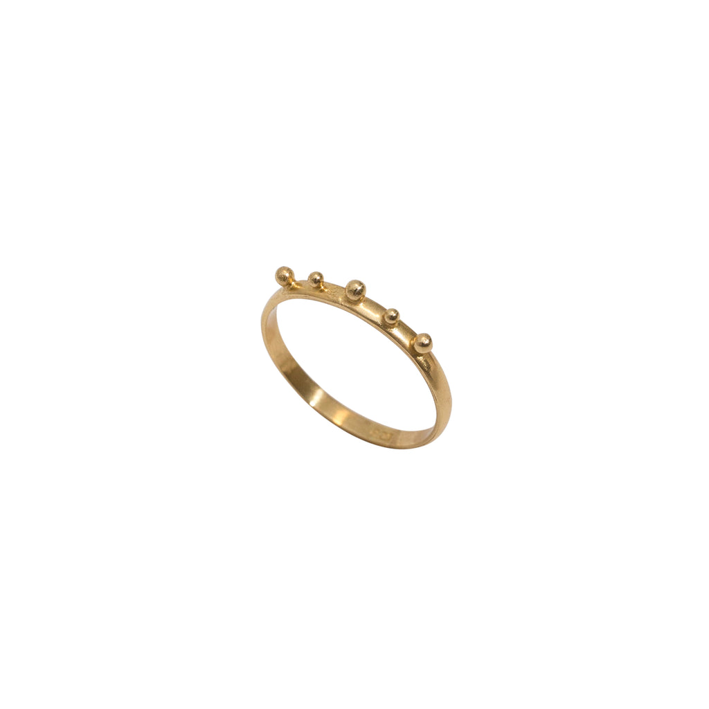 Gold studdedn ring - slim band gold ring with ball detailing - Stevie Jean jewellery