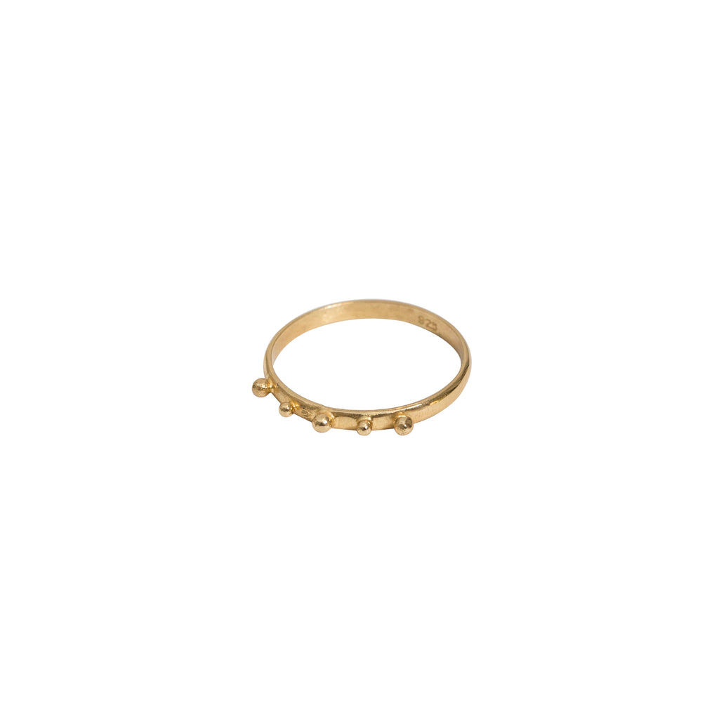 Gold studdedn ring - slim band gold ring with ball detailing - Stevie Jean jewellery 1