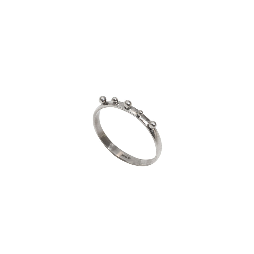 Silver studded ring - Thin band sterling silver ring - Stevie Jean