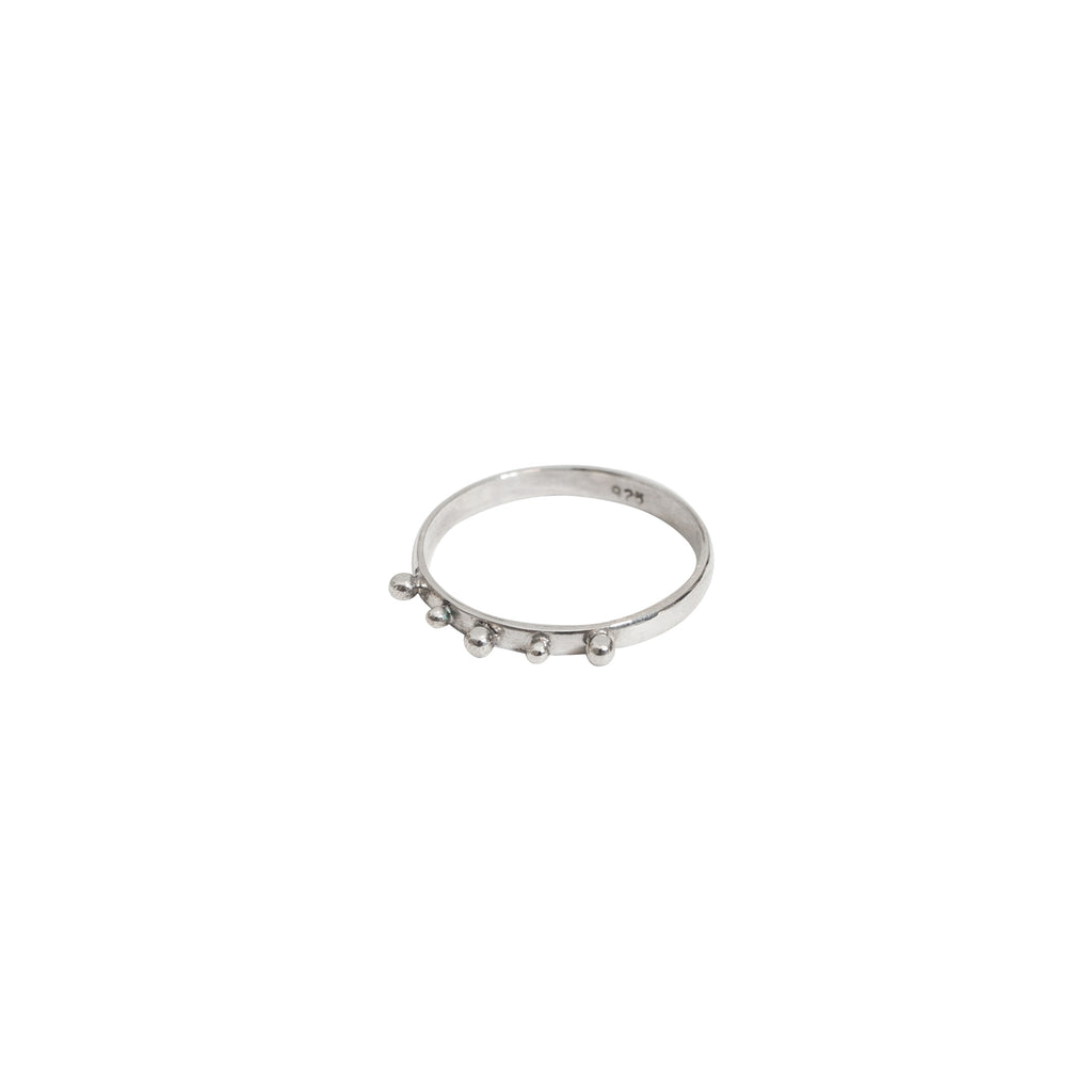 Silver studded ring - Thin band sterling silver ring - Stevie Jean 1