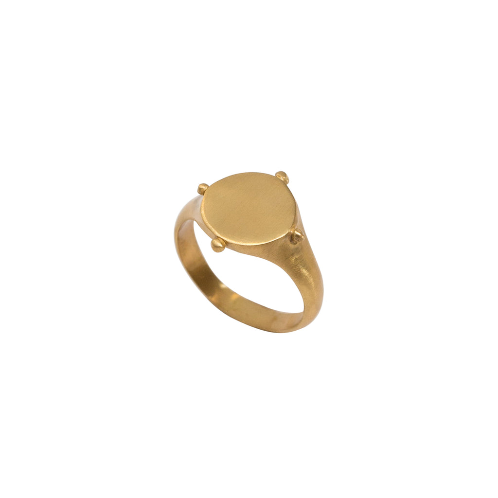 Gold Signet Ring | Sterling Silver with 14k Gold Vermeil Ring