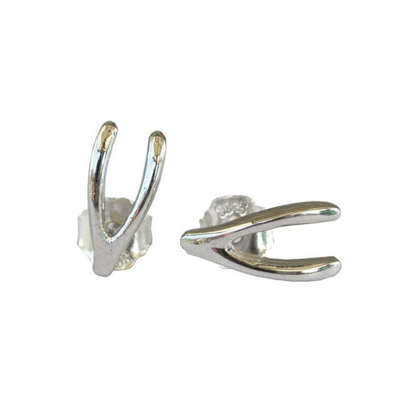 sterling silver wishbone stud earrings by wild heart jewellery