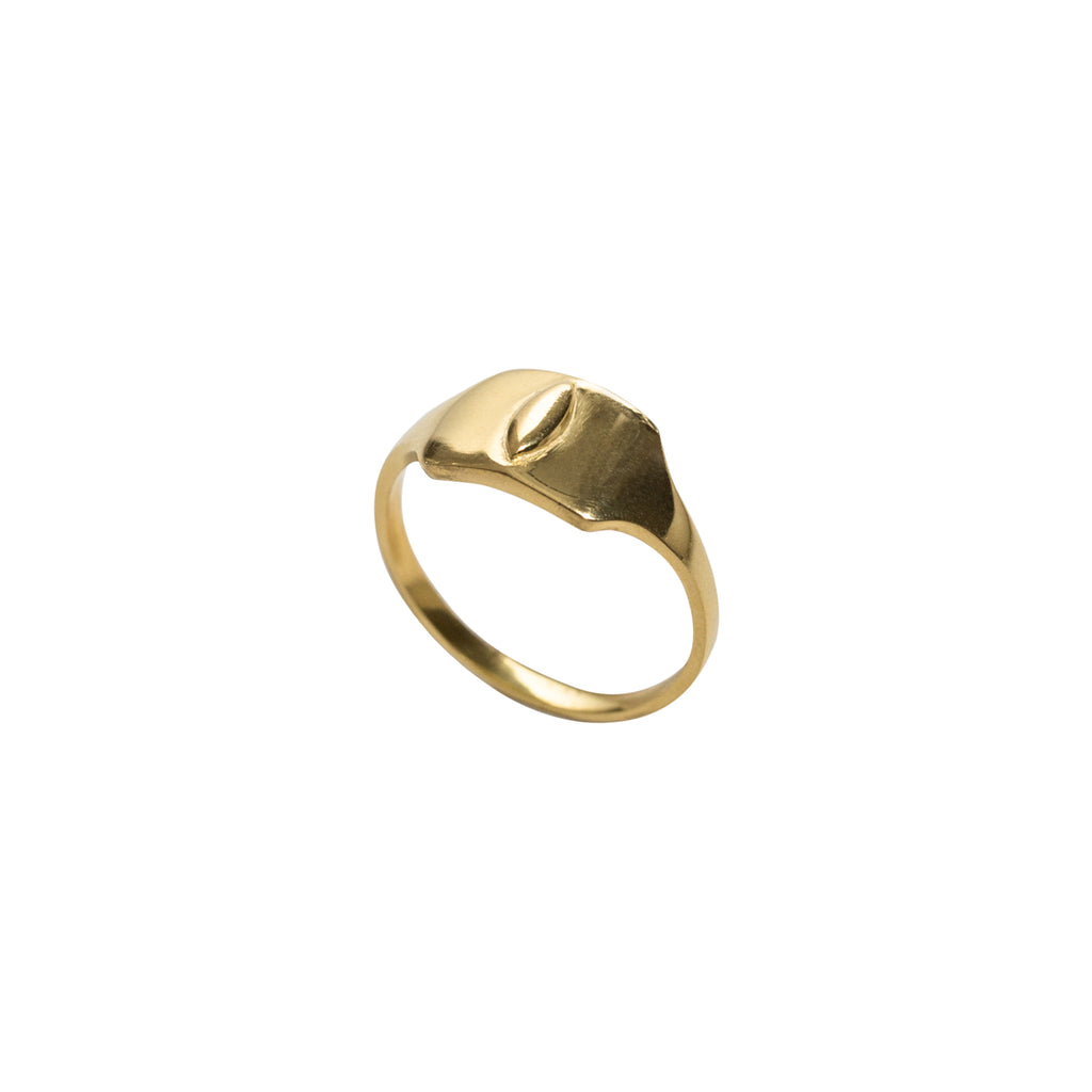 fine gold signet ring by wild heart jewellery