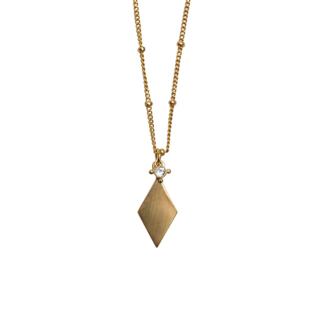 RELIC NECKLACE GOLD WITH AQUMARINE STONE