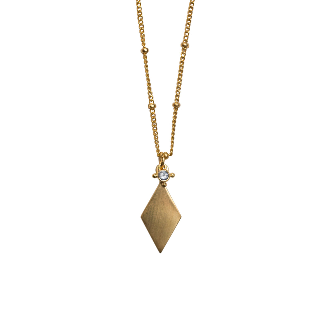 RELIC NECKLACE GOLD WITH WHITE TOPAZ STONE