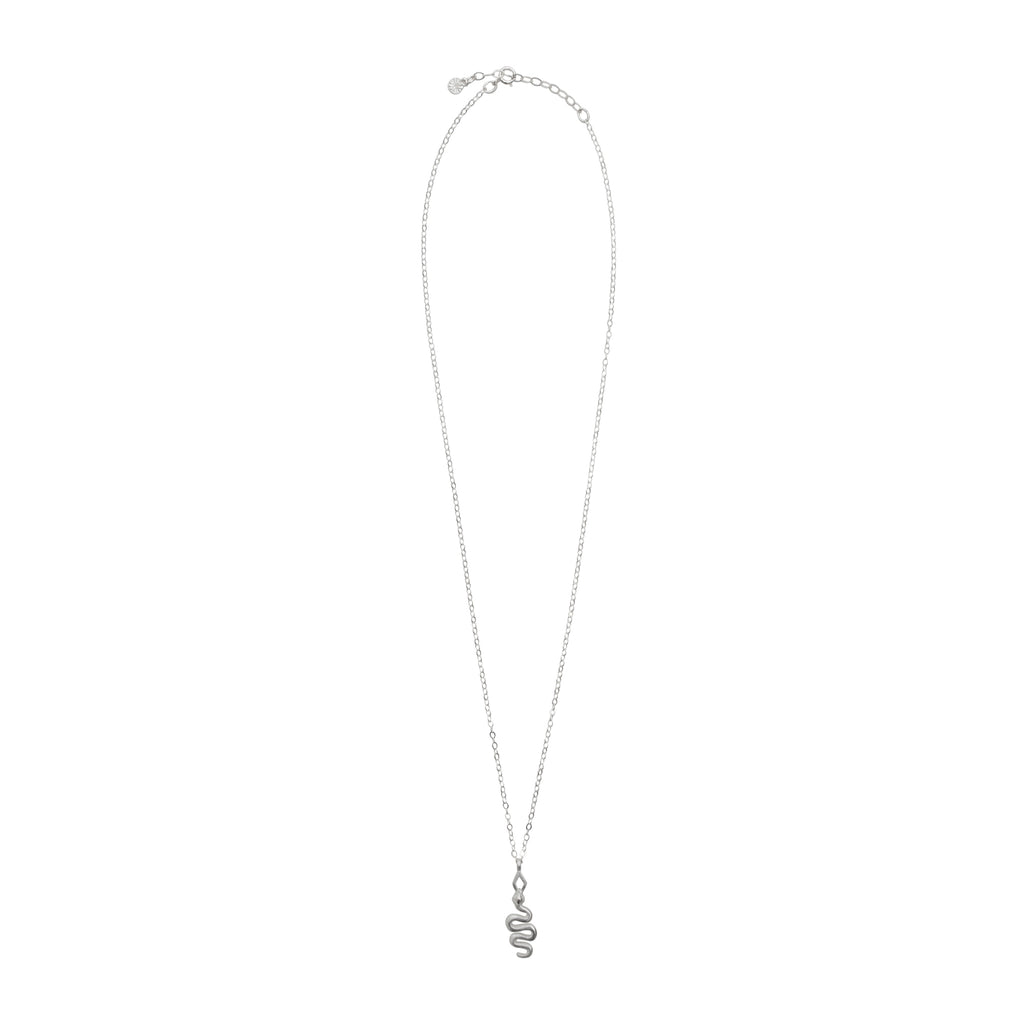 sterling silver fine chain necklace with snake pendant by stevie jean jewellery