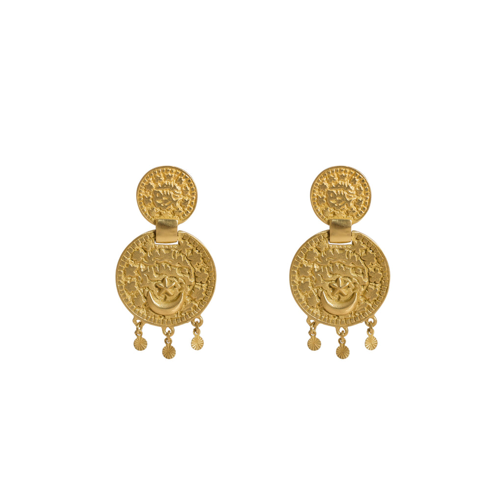 Statement gold earrings - coin design earrings - Stevie Jean Jewellery