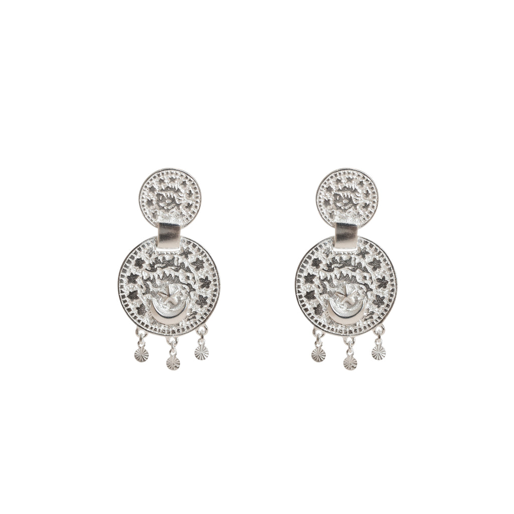 Silver statement earrings - Sterling silver coin earrings - Stevie Jean Jewellery