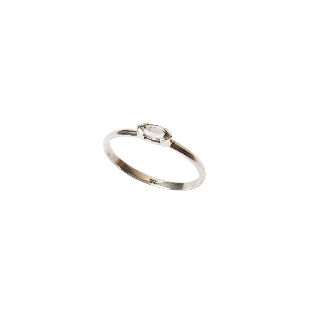 Fine sterling silver ring featuring a white topaz stone from golden years collection by wild heart jewellery