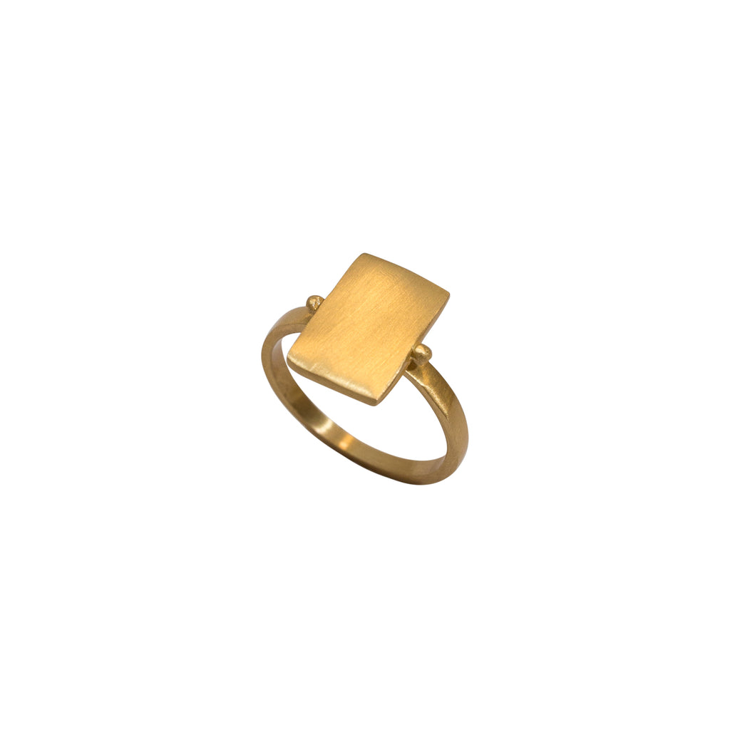 Statement gold ring - brushed finish gold ring - Stevie Jean Jewellery 1