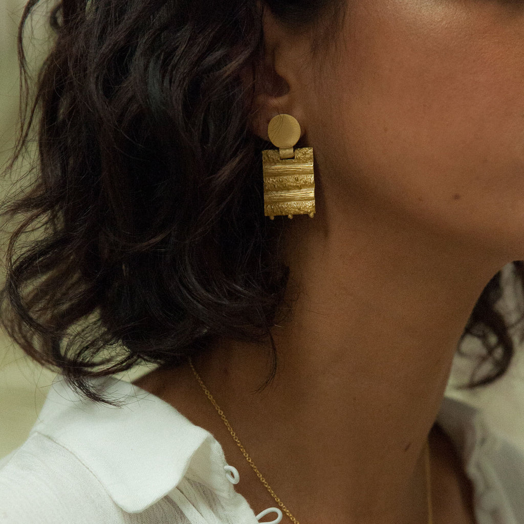 Gold drop earrings - Dune Collection - Stevie Jean Jewellery 1