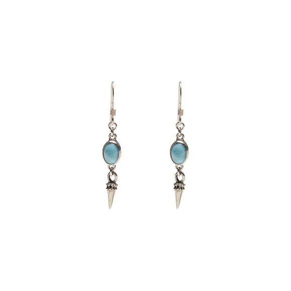sterling silver and larimar earrings with spike charm by wild heart jewellery