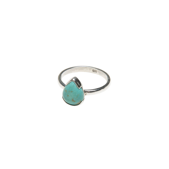Sterling silver ring with turquoise tear drop by wild heart jewellery