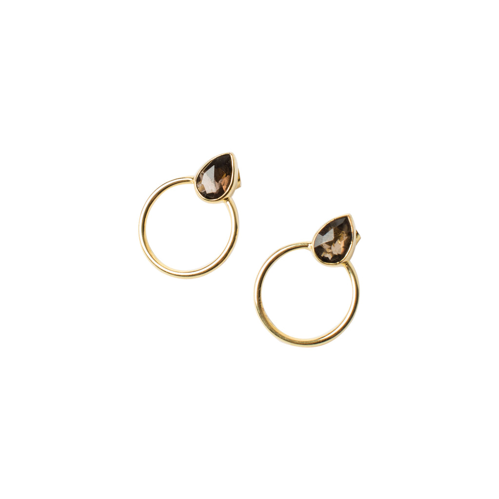 You-Send-Me-Gold-Studs Gold-Earrings Smokey-Quartz Into-The-Mystic-Collection Wild-Heart-Jewellery