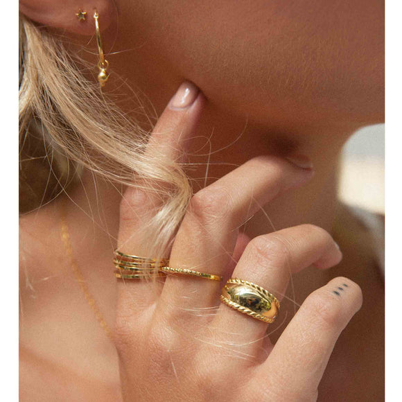 gold set of 4 stack rings by wild heart jewellery