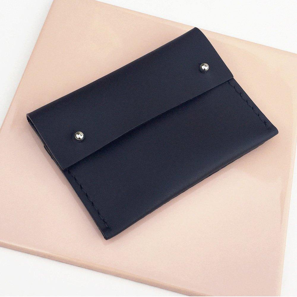 MAYA Handmade small leather wallet / card holder with coin pocket - Matte Black