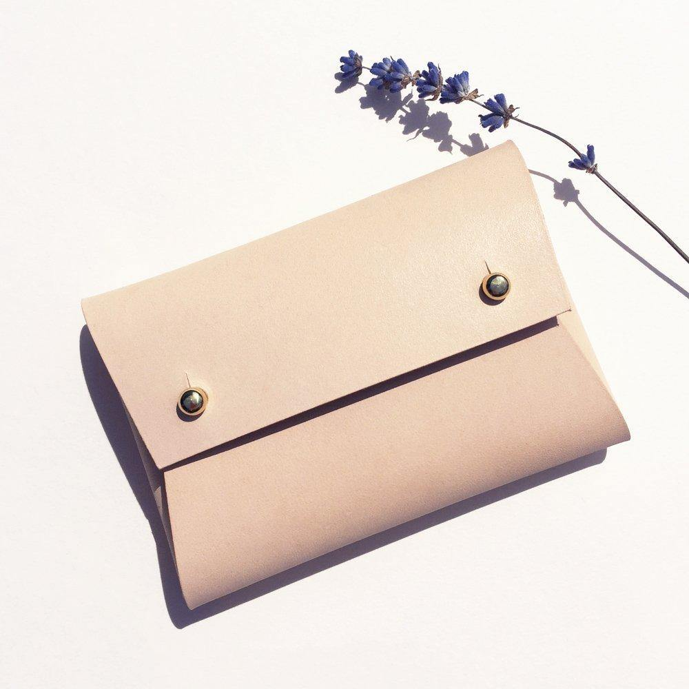 MILA Handmade Small Leather Pouch / Business Card Holder - Natural
