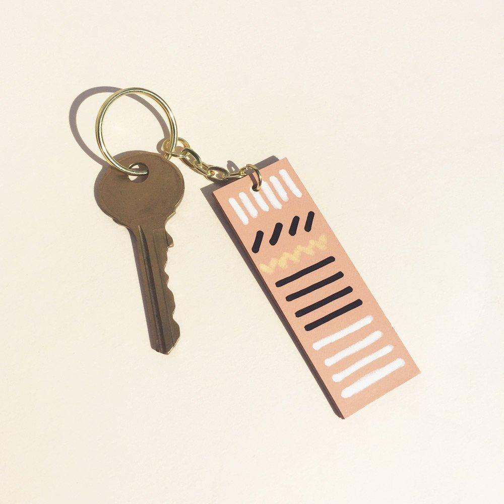 Key ring - handmade hand-painted leather keychain