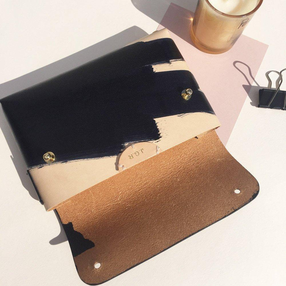 Leather pouch with example of personalisation