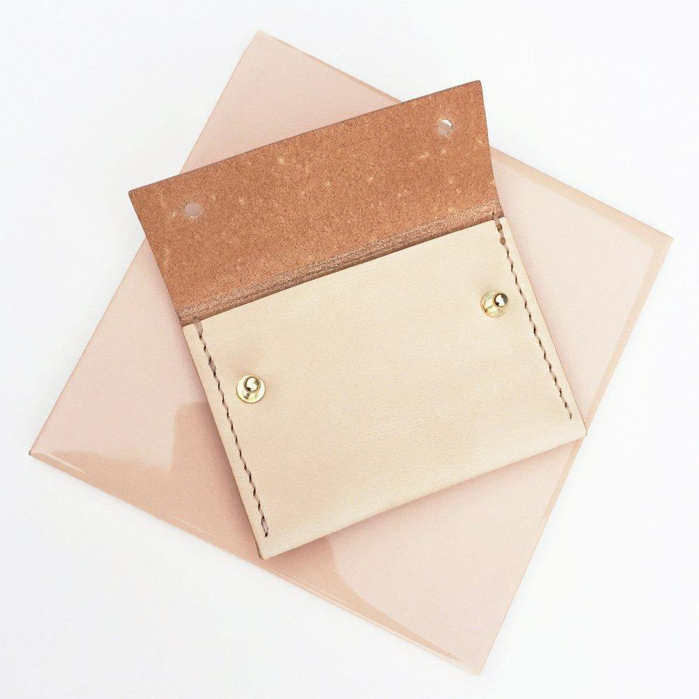 MAYA hand stitched small leather wallet / card holder with coin pocket - Natural