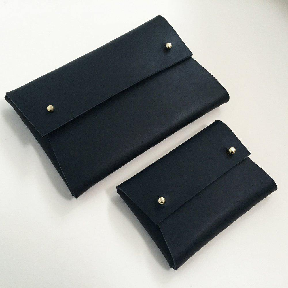 MISHA handmade leather pouch - Matte Black