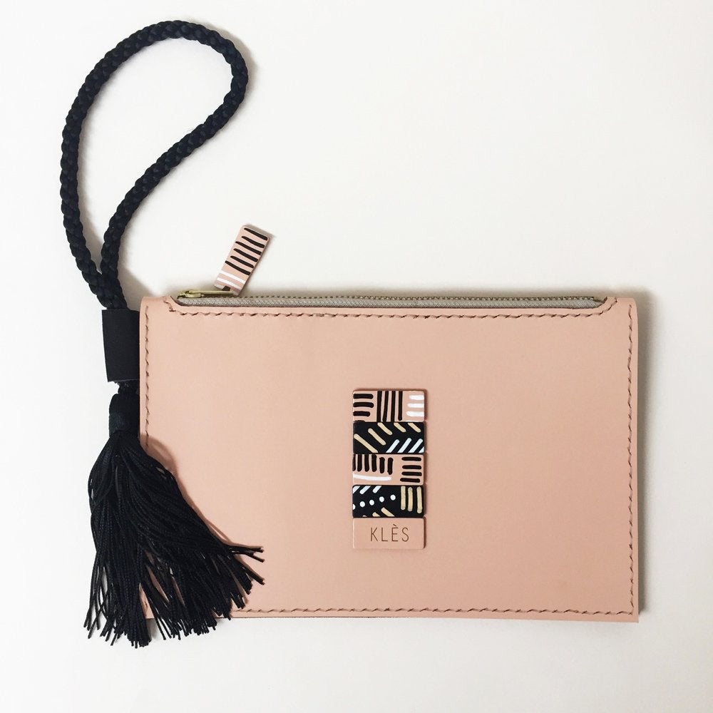 SELMA hand stitched zipped wristlet clutch with hand-drawn details - Light Pink / Peach