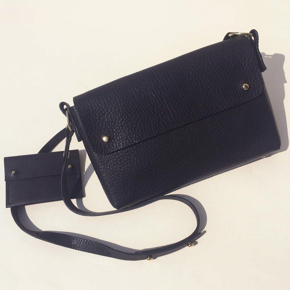 MARA folded handmade leather cross-body bag - Grained Black